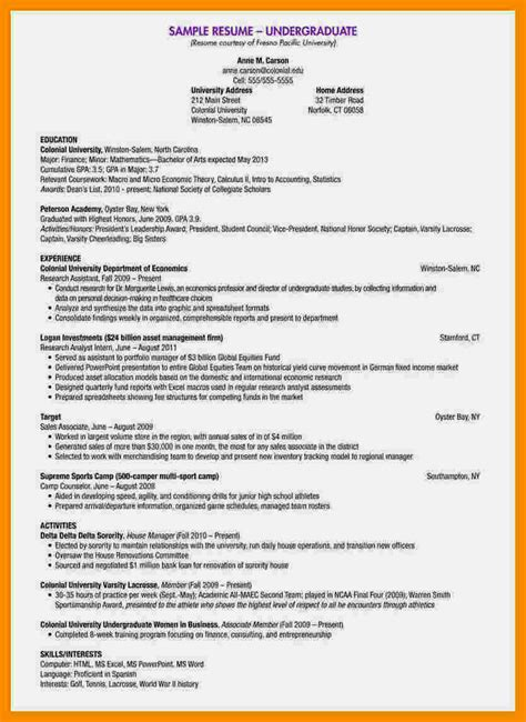 To Write A Cv by How To Write A Cv For Undergraduate Students Resume