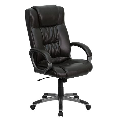 high back espresso brown leather executive office chair