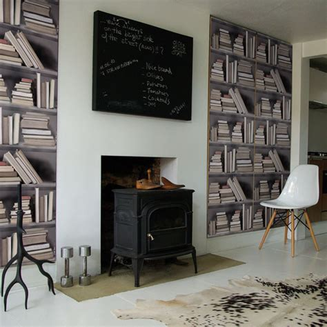 Bookcase Wall Paper by Bookshelf Wallpaper Idesignarch Interior Design