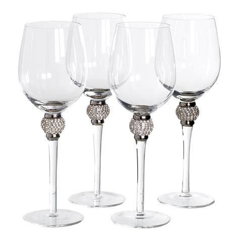 white wine silver diamante ball glasses set   mulberry moon