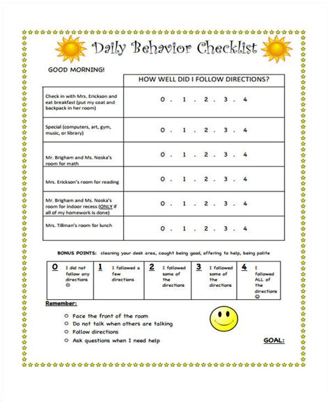 Best Behavior Checklist Template Photos Example Resume