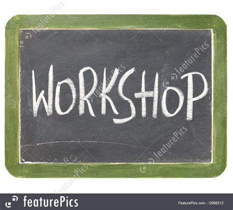 signs  info workshop blackboard sign stock picture