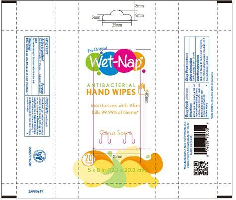 dailymed wet nap antibacterial hand wipes benzalkonium