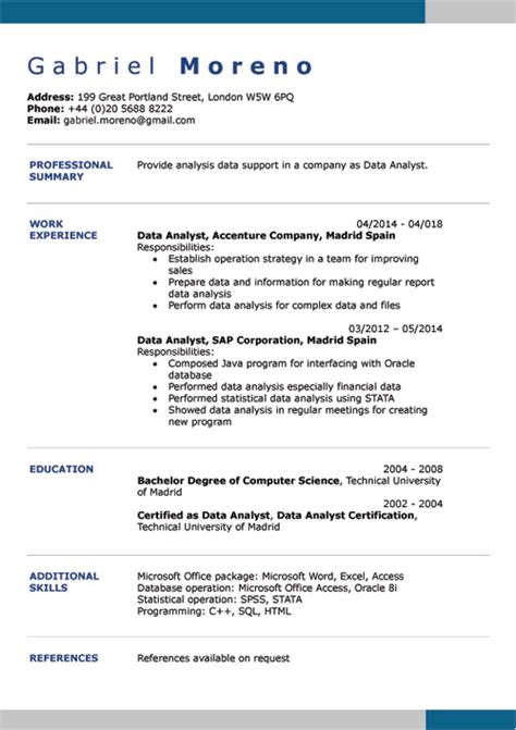 Cv Maker Word by Cv Exles Doc Template Creator