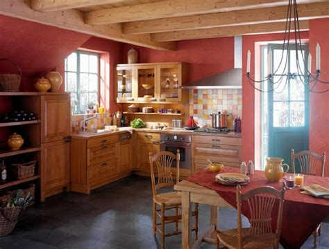 perfect red country kitchen cabinet design ideas for french country kitchen design red wall and brown cabinets
