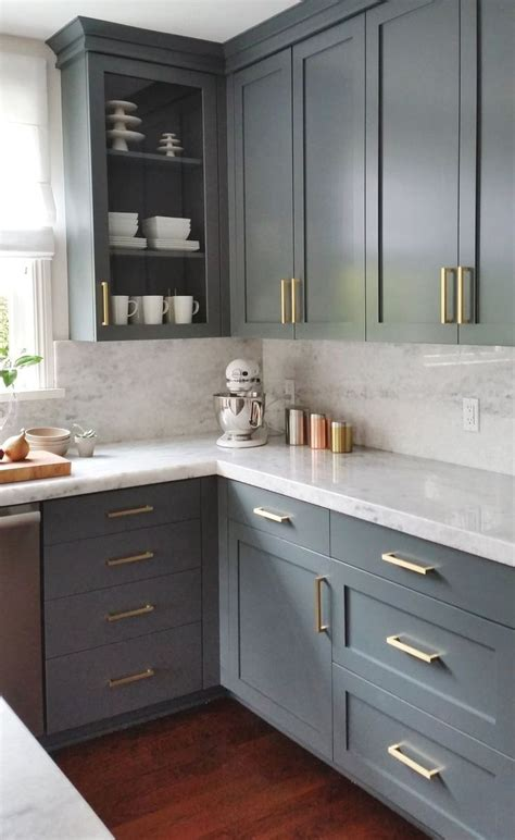 Can I Find Kitchen Cabinets by Gray Cabinets And Brass Hardware Kitchen Cocina In