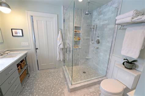 carrera marble master bath remodel traditional