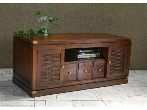 vente unique canape meuble tv kerala 2 portes 1 niche 3 tiroirs acajou