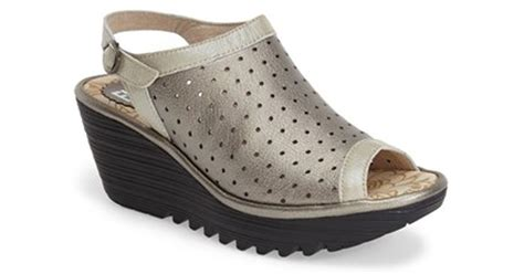 Fly London 'yile' Perforated Slingback Wedge In Gray