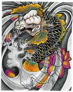 Dragon Koi with colour by Skelos on DeviantArt