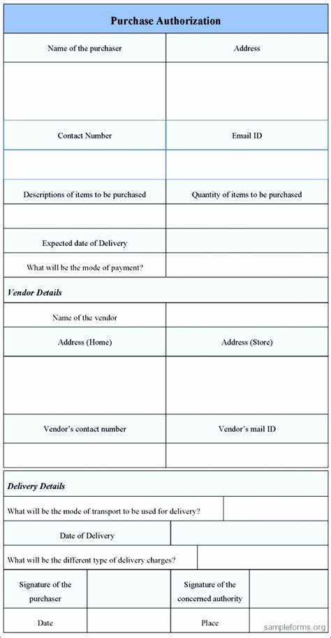 purchase authorization form template 7 purchase order form template excel exceltemplates