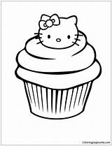 Coloring Muffin Printable Colouring Template Kitty Cake Hello Coloringpagesonly источник sketch template