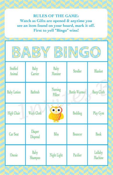 Boy Baby Shower Bingo Game