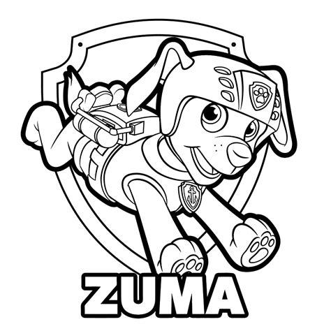 Kleurplaat Paw Patrol Zuma leuk voor zuma met badge