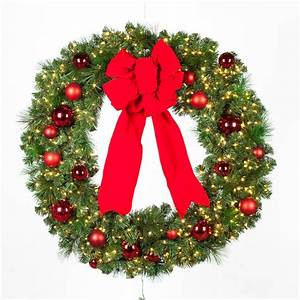 Christmas, Wreath, Artificial, Decorated, Red, Ornaments, Velvet, Bow, Lighted, 48, Inch