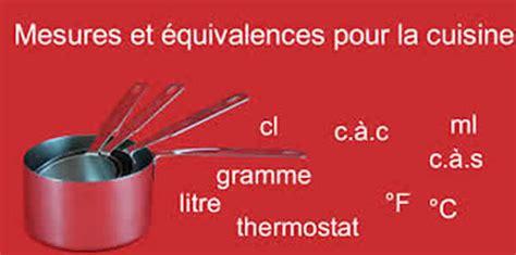 mesures cuisine mesures et equivalences pour la cuisine utile pour vos