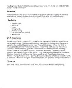resume format of mechanical maintenance engineer professional mechanical maintenance engineer templates to showcase your talent myperfectresume