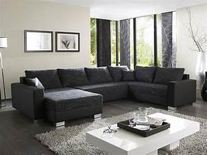 Graue Couch Wohnzimmer : polsterecke amy 320x220 160cm schwarz grau couch sofa ~ Michelbontemps.com Haus und Dekorationen