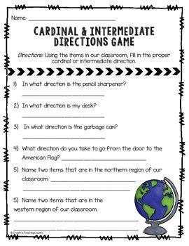map skills cardinal  intermediate directions