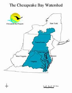 General Map Outline Of Chesapeake Bay Watershed   Source