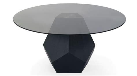 modern dark oak  glass  prism dining table zuri