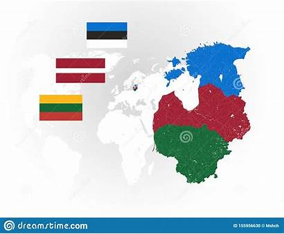 Baltische Staten Nationale Rivieren Vlaggen Meren Kaart