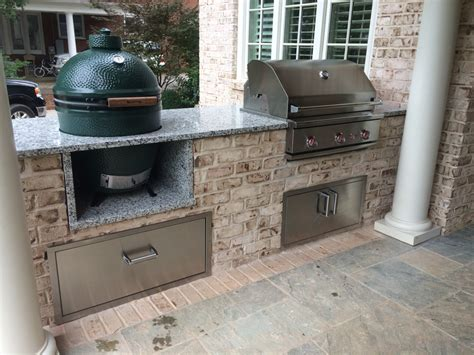 outdoor kitchen with green egg outdoor kitchens grill company