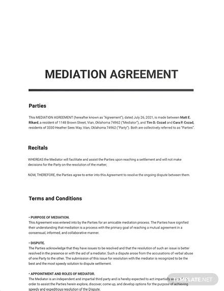 mediation agreement template word  google docs