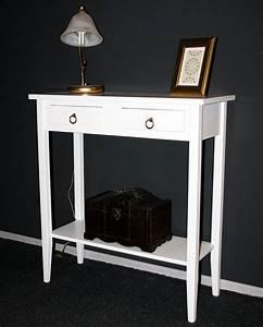 Telefontisch Weiß Hochglanz : konsolentisch 74x80x32cm 2 schubladen 1 ablageboden pappel massiv wei lackiert ~ Markanthonyermac.com Haus und Dekorationen