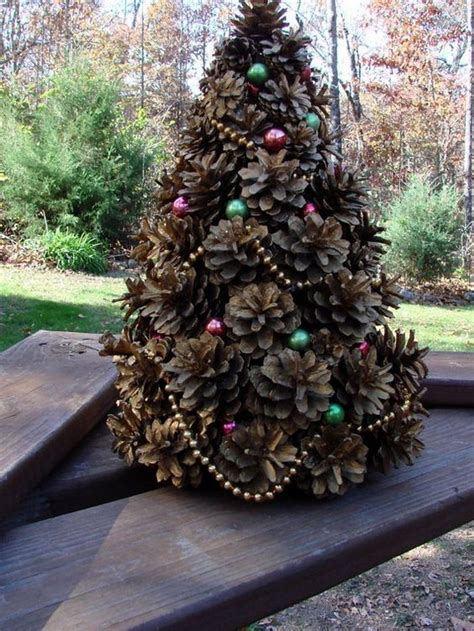 pine cone christmas tree lights mini tree made from pine cones craft projects for every fan