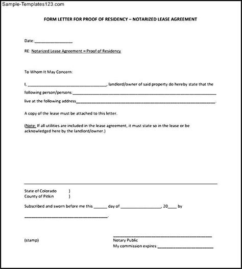 blank notarized letter  proof  residency template