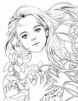 Coloring Momo Adult Drawing Poem Printable Anime Korean Sketches Adults Books Line Pretty Visage Colour Fantasy Sheets Momogirl sketch template