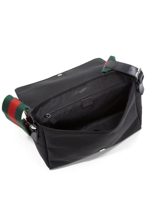 lyst gucci techno canvas messenger bag  black  men
