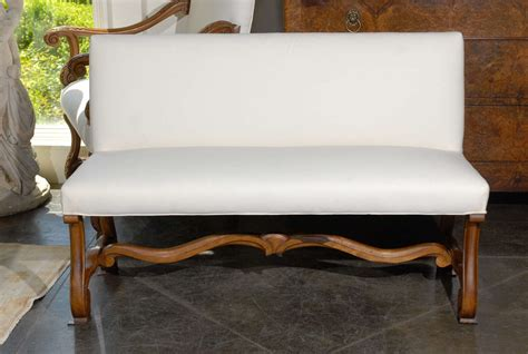 Curved Settee Bench by Upholstered Bench Settee At 1stdibs