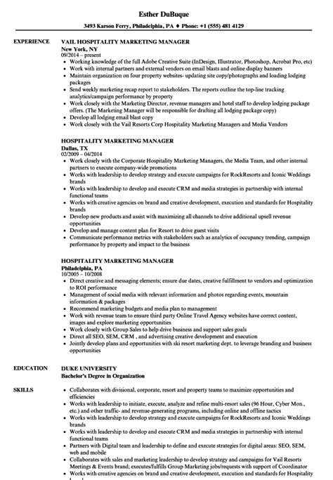Hospitality Sle Resume by Hospitality Marketing Manager Resume Sles Velvet