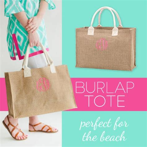 items similar  monogrammed burlap bag beach bag pool