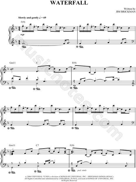 note waterfall jim brickman quot waterfall quot sheet music piano solo in f major download print sku mn0054863