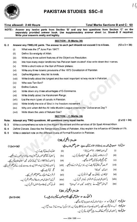 pakistan studies   papers  federal board