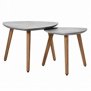 Table Basse En Beton : table basse gigogne goma en b ton lot de 2 ~ Farleysfitness.com Idées de Décoration