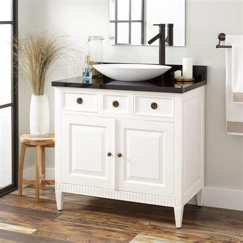 """Legion furniture 18 weathered gray sink vanity no faucet. 36"""" Hawkins Mahogany Vessel Sink Vanity - White - Bathroom"""