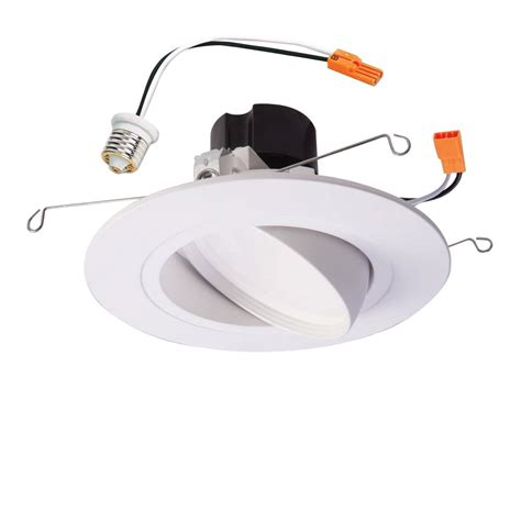 6 gimbal led recessed lighting halo ra 5 in and 6 in matte white integrated led