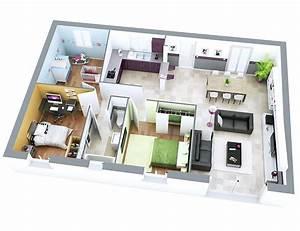 maison petit budget sun top duo maison de plain pied With plan maison en longueur 1 plan maison 3d dappartement 2 piaces en 60 exemples