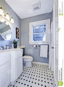 Bright Bathroom Interior In Light Blue Color Stock Photo