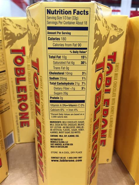 toblerone swiss milk chocolate bars nutrition facts