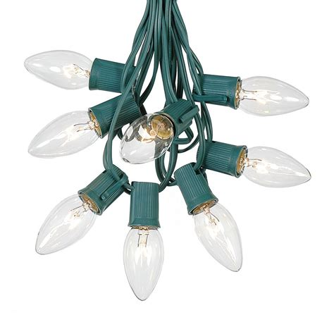 c9 clear christmas lights 100 clear c9 christmas light set on green wire novelty