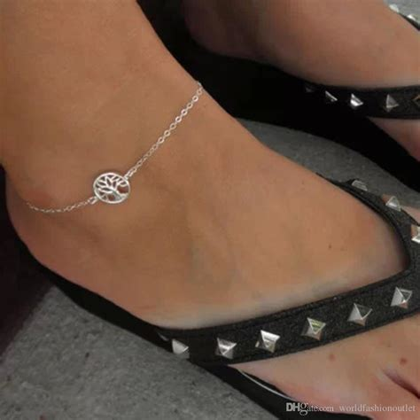 hot life tree chain anklet silver plated ankle