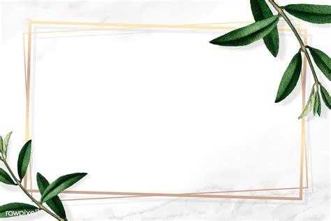 premium vector  gold frame  green leaves