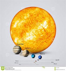 Sun Compared to Planets stock illustration. Image of solar ...