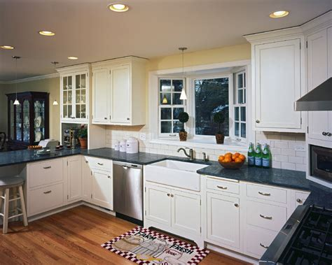 Kitchen Bay Windows Above Sink by Apron Sink Traditional Kitchen Chicago By The