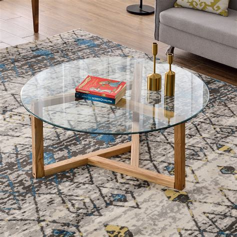 """Great prices and selection of 3 coffee tables. Glass Coffee Table, 35.4"""" Round Coffee Table with Sturdy Wood Base, Modern Cocktail Table with ..."""